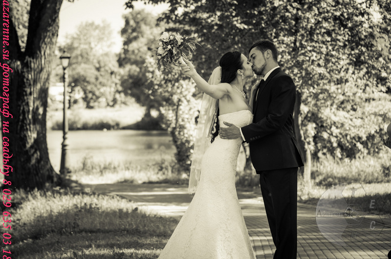 Черно-белое поцелуй жениха и невесты